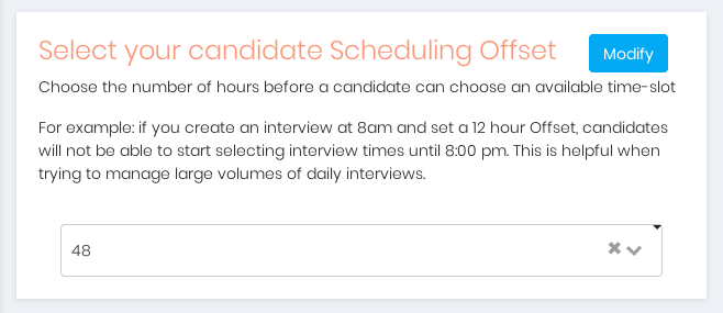 Manage the Candidate Scheduling Offset