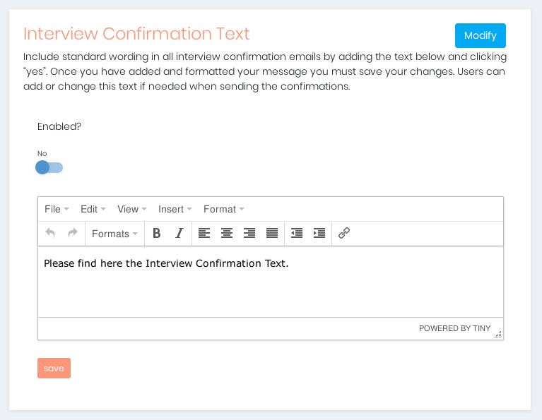 Manage The Interview Confirmation Text
