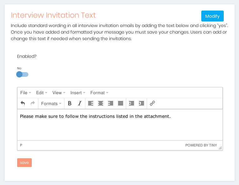 Modifying Interview Invitation Text